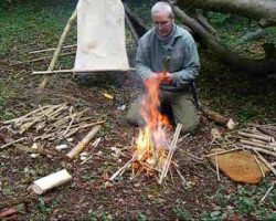 bushcraft survival basher shelter with resin fire part 2