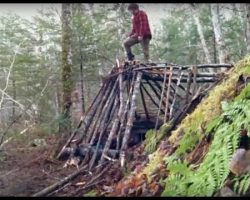 Bushcraft Survival Shelter No Cordage Used!