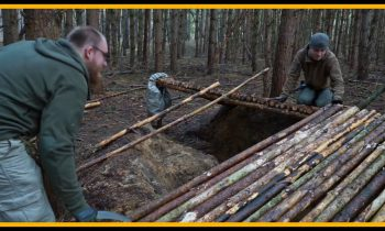 Grubenhaus bushcraft shelter – Lagerbau – Outdoor Bushcraft Camp Shelter